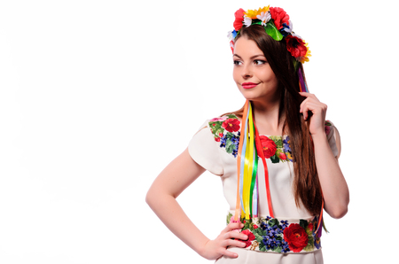 cute girl in the Ukrainian national costume