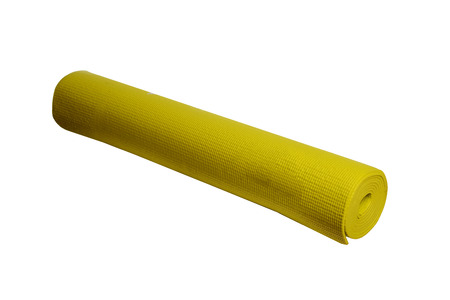 yellow yoga mat on a white background ,isolated Stock Photo