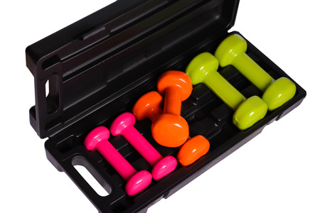 SET dumbbell in a case on a white background,isolated Stock Photo