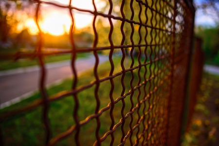 chainlink fence: fence with metal grid in perspective, background Stock Photo