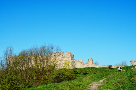 siege: Ruin of medieval stone wall Kremenets, Ukraine Stock Photo
