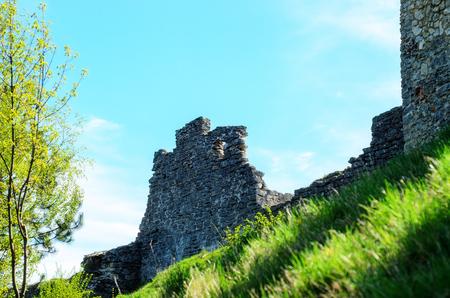 Ruin of medieval stone wall Kremenets, Ukraine Stock Photo