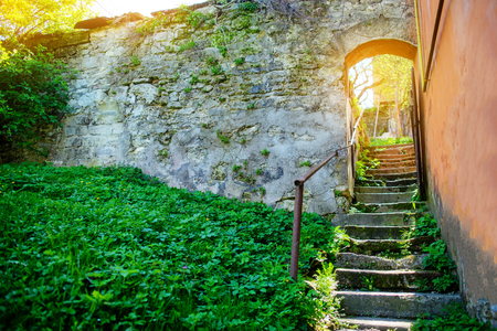 staircase in the ancient courtyard in a wonderful spring day