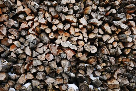 outdoor fireplace: A stack of birch firewood - a natural