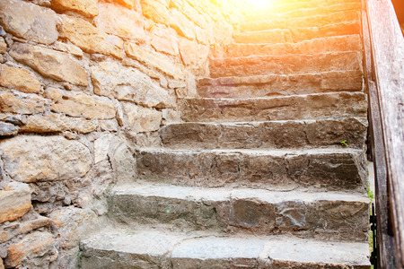 Close up background of ancient medieval stone stairs. Stock Photo