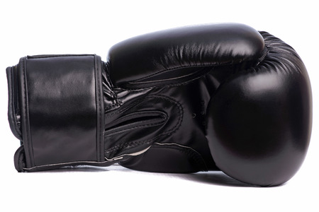 one black boxing mitts on a white background.