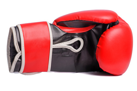 one Red boxing mitts on a white background.