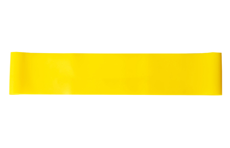 Close-up isolated yellow sport strap for stretching. Reklamní fotografie - 91265512