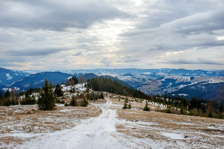 Scenic winter view on top of the Carpathian mountain.