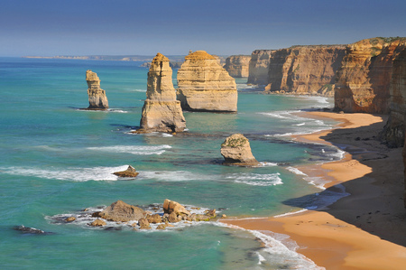 Australia, Great Ocean Road, The Twelve Apostles, collection of limestone stacks off the shore of the Port Campbell National Park, by the Great Ocean Road in Victoria. Stock Photo