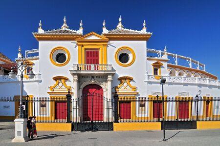 Spain, Andalusia, Sevilla, Plaza de Toros de la Real Maestranza de Caballeria de Sevilla, the Baroque facade of the bullring.