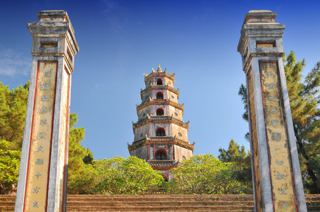 Vietnam, Hue, Phuoc Duyen Tower, Thien Mu Pagoda, historic temple in the city of Hue in Vietnam.