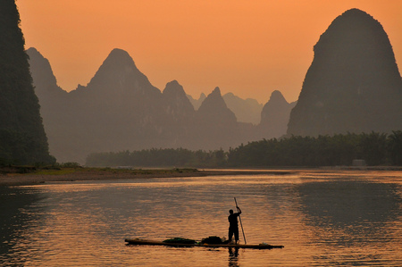 Cormorant Fisherman in the Lijang Li River Xingping Guilin province China.
