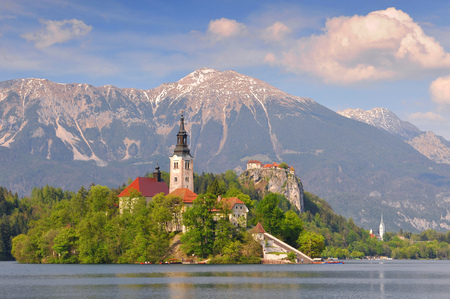 Lake Bled and the church of Assumption, Gorenjska Region Slovenia.
