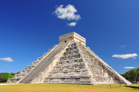 El Castillo, also known as the Temple of Kukulcan and the Mesoamerican step-pyramid that dominates the Chichen Itza archaeological site in the Mexican state of Yucatan.