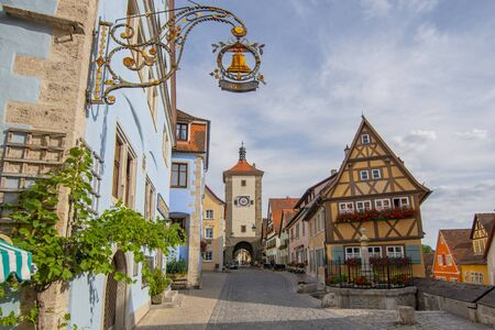 View of the famous historic town of Siebers Tower, Plonlein and Kobolzell Gate in Rothenburg ob der Tauber, Franconia, Bavaria Germany.