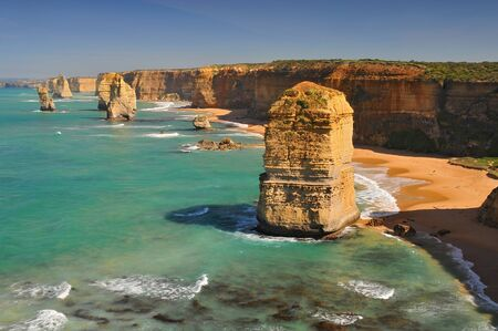 View of the stacks that comprise the Twelve Apostles, one of the main attractions of the Port Campbell National Park. Great Ocean Road, Victoria State, Australia.