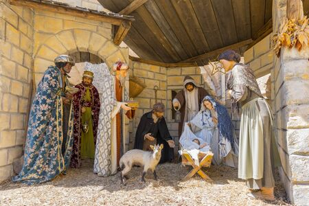 Traditional nativity scene depict three kings visiting the infant Jesus on the night of his birth in Bethlehem, Palestine.