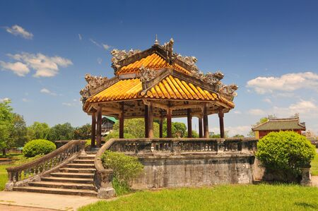 Pagoda inside the Purple Forbidden City (Imperial City) in Hue in Central Vietnam.