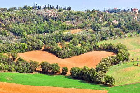 Heart tuscan landscape with view of Pienza, Val d'Orcia, Tuscany, Italy.