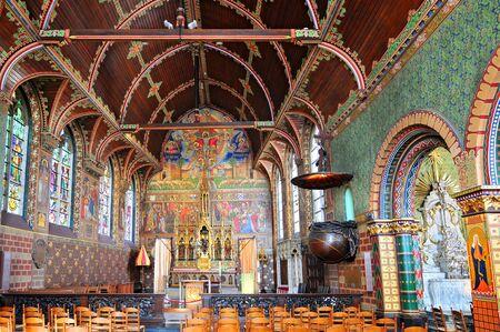 Interior of Basilica of the Holy Blood in Bruges, Flemish Region of Belgium. Banque d'images