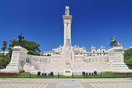 Monument to the constitution of 1812 and House of the Four Towers, Cadiz, Andalusia, Spain.