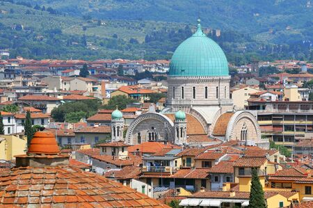 View of Florence with the Synagogue in the center Florence Italy. Stock Photo