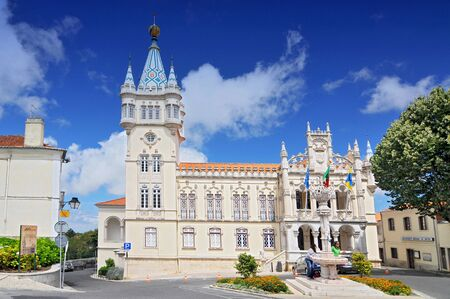 Town Hall of Sintra (Camara Municipal de Sintra), remarkable building in Manueline style of architecture, on site of old Chapel of St. Sebastian, Portugal.