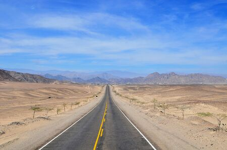 Pan American Highway along the desert coast of Peru from Lima to Trujillo.
