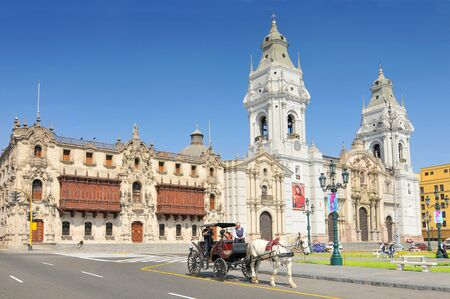 The Basilica Cathedral of Lima is a Roman Catholic cathedral located in the Plaza Mayor in Lima, Peru. Stock Photo