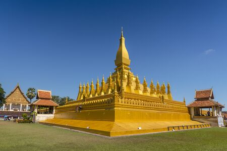 Pha That Luang, symbol of the Laos sovereignty, Buddhist religion and the city of Vientiane, Vientiane, Laos.