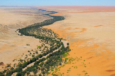 Aerial view of the Kuseb river Namib desert, Naukluft National Park, Namibia Skeleton Coast.