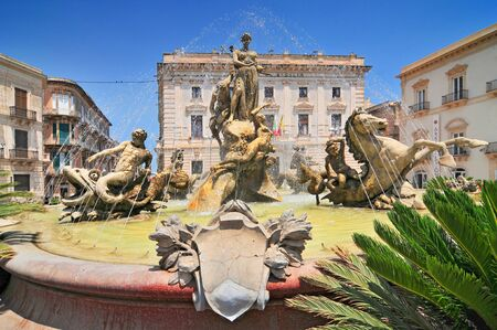 Artemide fountain in Syracuse historic city in Sicily Italy.