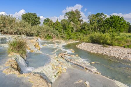 Natural spa with waterfalls and hot springs at Saturnia thermal baths, Grosseto, Tuscany, Italy.