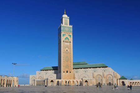 The Hassan II Mosque or Grande Mosquee Hassan II, a mosque in Casablanca Morocco. It is the largest mosque in Morocco and the 13th largest in the world.