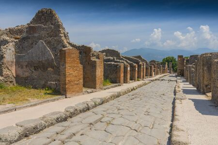 Main street at the ancient Roman city of Pompeii, which was destroyed and buried by ash during the eruption of Mount Vesuvius, Italy.