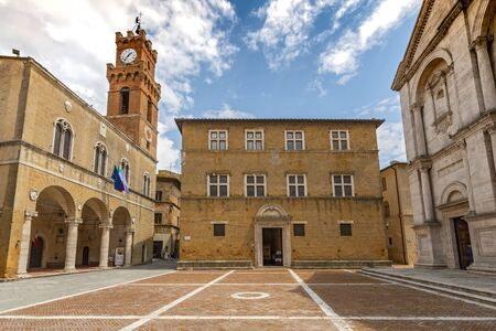 Pio II square with Town Hall, Bishop Palace and Cathedral, Pienza, Italy.