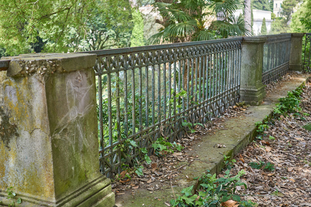 metal handrail: antique railing in park