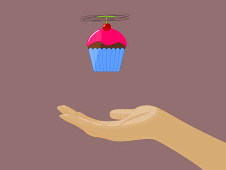rotor: Cupcake Flying above Open Hand