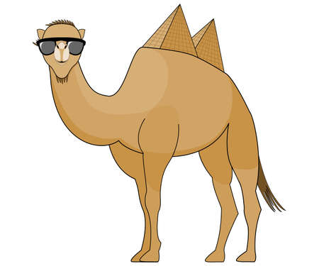 Camel wearing Sunglasses with Pyramids as Humps