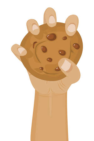 hand grip: Hand holding a Chocolate Chip Cookie (Hand is Fully Drawn behind Cookie)
