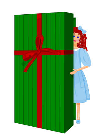 festive occasions: Curly haired Doll wearing blue dress peeping out from open Gift Box (Doll and Gift Box are Fully Drawn)