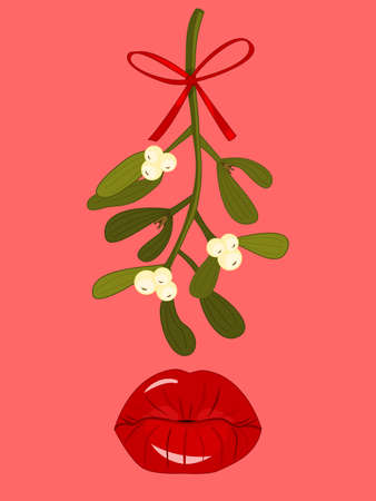 kissing lips: Mistletoe with Bow Hanging above Red Kissing Lips