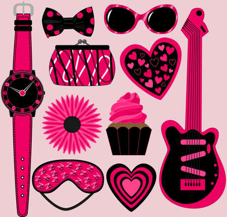 pink and black: Set of 10 Assorted Pink and Black Items