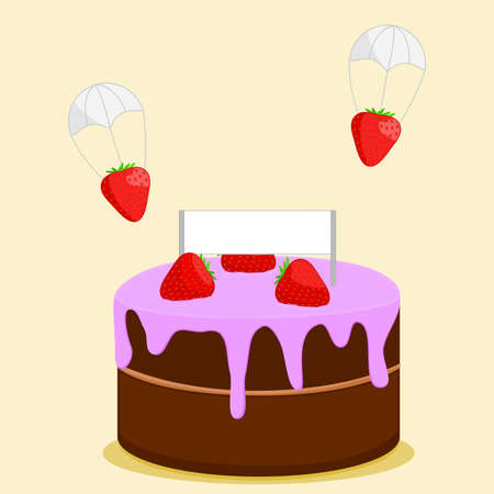 optional: Strawberries Parachuting to Cake with Purple Frosting and Banner (Banner is Optional) Illustration