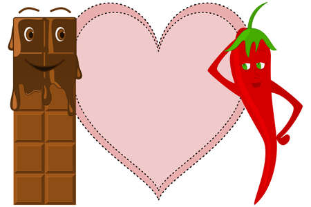 intact: Melting Chocolate Bar looking at a Red Chili in front of a Heart (Chocolate bar is intact behind melted portion)