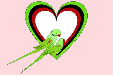 loros verdes: Par de loros verdes delante de corazones de colores