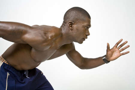 strong: Black Athlete Stock Photo