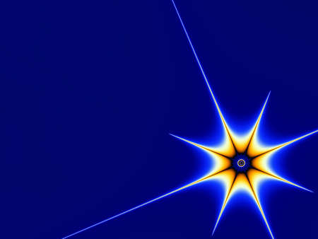 Orange star on blue background Stock Photo