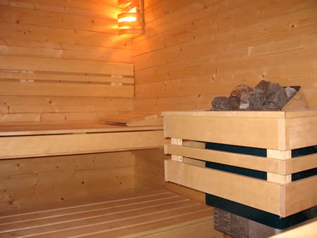 Inside of a wood new sauna